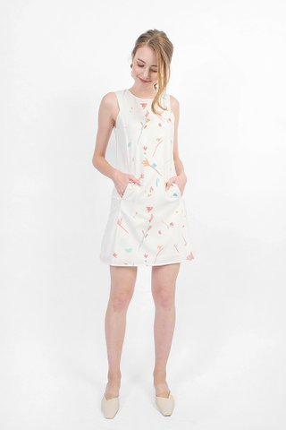 Scribbles Shift Dress (White)