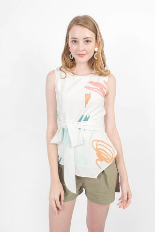 Scribbles Asymmetric Top (White)