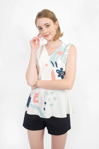 Rosette Peplum Top (White)