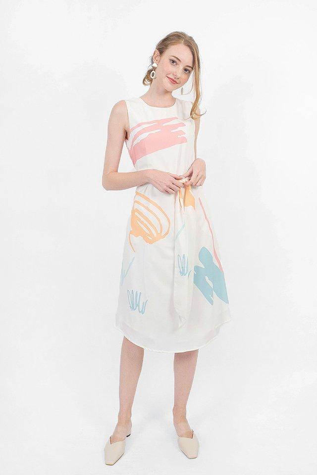 Scribbles Midi Dress (White)