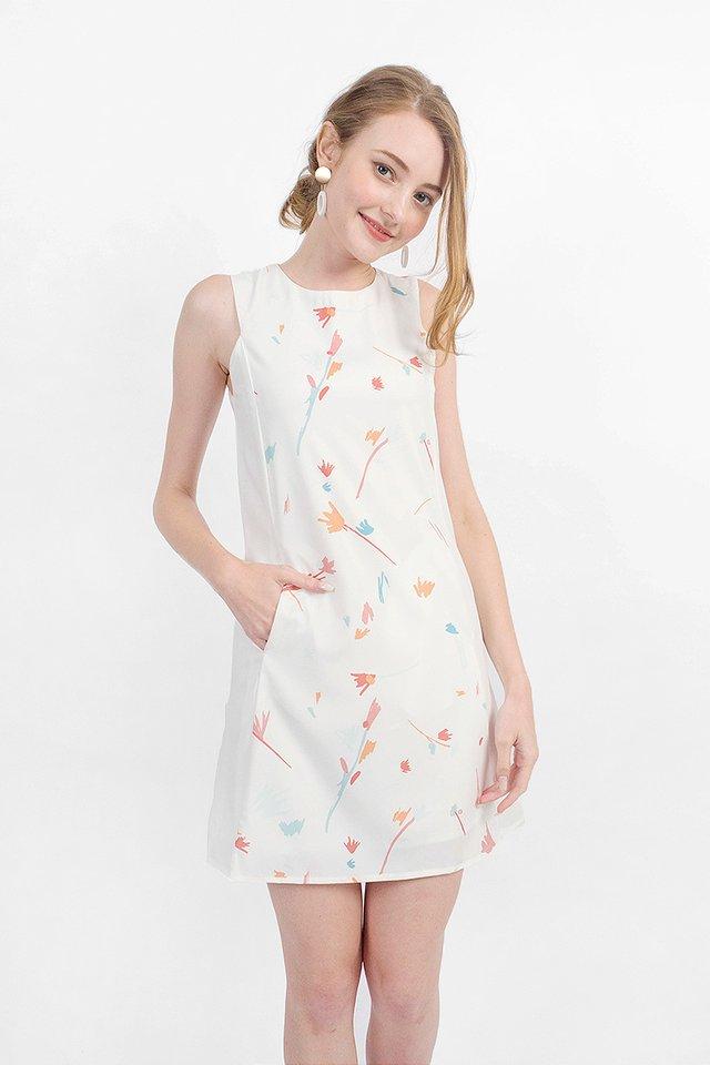 Scribbles Shift Dress (White)