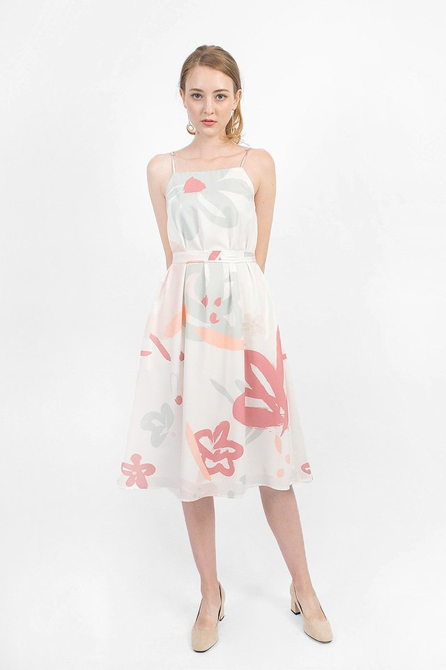 Rosette Tent Midi Dress (White)