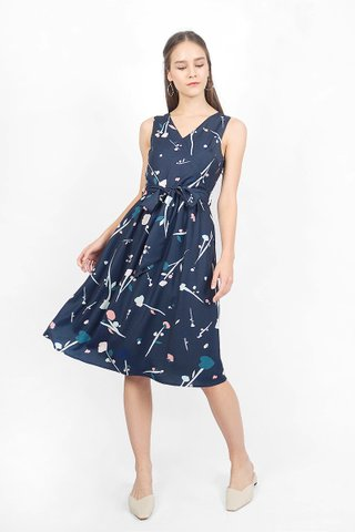 芳(fang) Midi Dress (Navy)