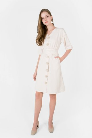 Miu Buttoned Dress (Ivory)