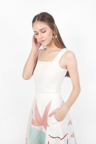 Sara Square Ribbed Top (White)