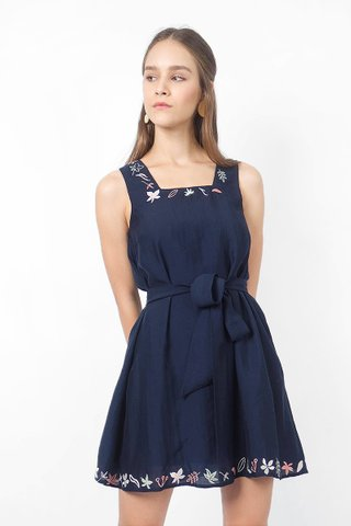 Autumn Embroidery Swing Dress (Navy)