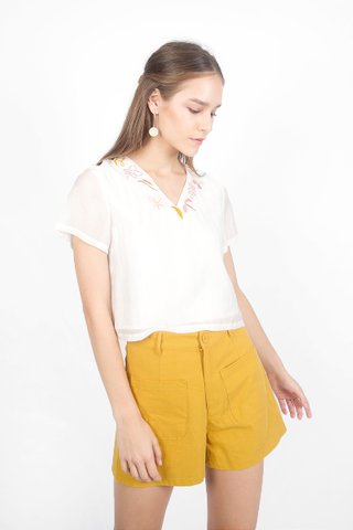 Autumn Embroidery Top (White)