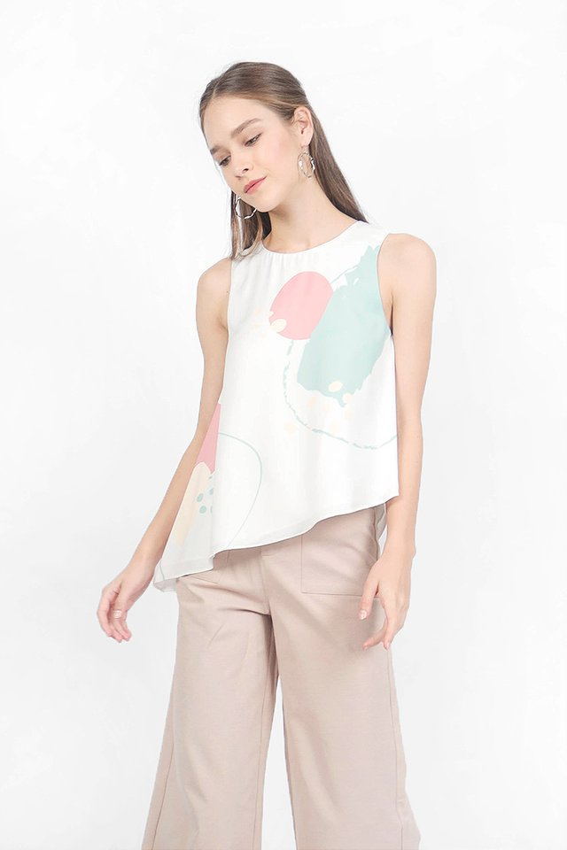 Spirited Asymmetric Shift Top (Jade Rose)