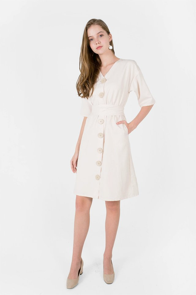 Miu Buttoned Dress (Ivory) - Medium