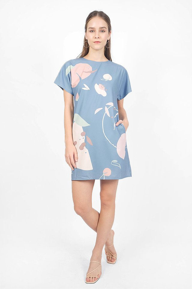 Peach Shift Dress (Blue)