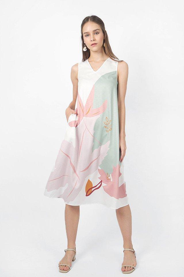 Maple V-neck Tent Dress (Mellow Sage)