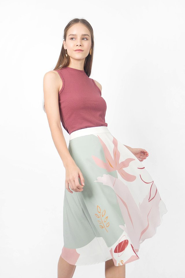 Maple MIdi Skirt (Mellow Sage) - Large (Last Piece)