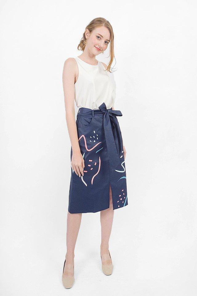 Doodle Midi Skirt (Navy)