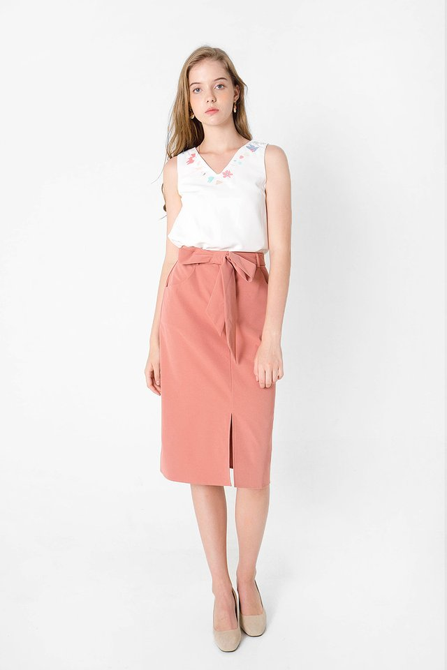 Doodle Midi Skirt (Rosewood) - Clearance