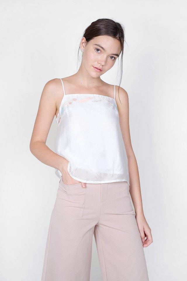 Inspire Embroidery Cami Top (White)