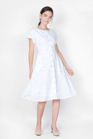 Daffodils Embroidery Midi Dress (White)