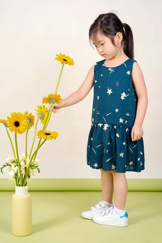 Daffodils Dropwaist Dress (Teal)