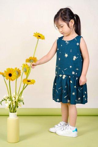 Daffodils Dropwaist Dress (Teal)