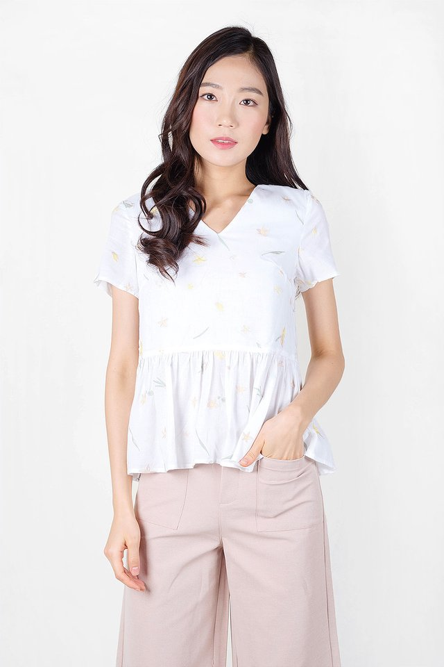 Daffodils Babydoll Blouse (White) - Extra Small