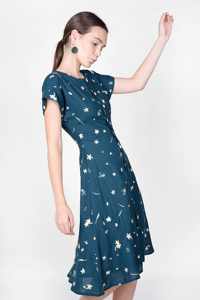 Daffodils Embroidery Midi Dress (Teal) - Extra Small