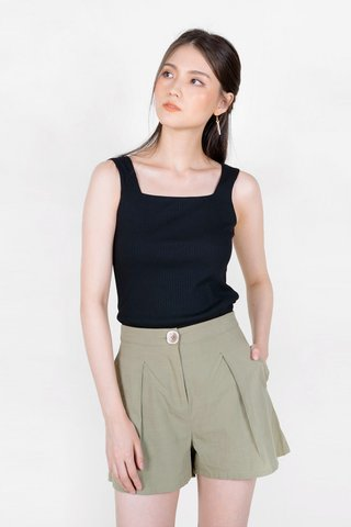 Sara Square Ribbed Top (Black)