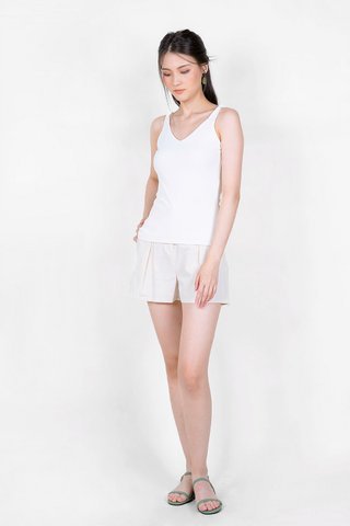 Ema Knotted Ribbed Top (White)