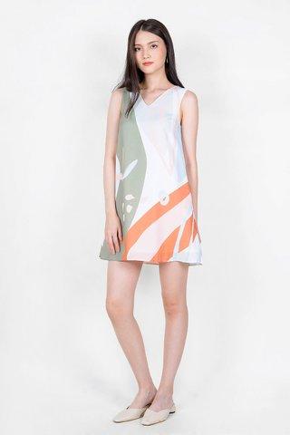 Lush V Shift Dress (Dew Green)