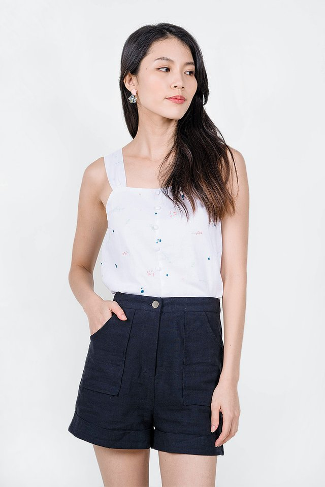 Bloom Embroidery Top (Teal/Pink)