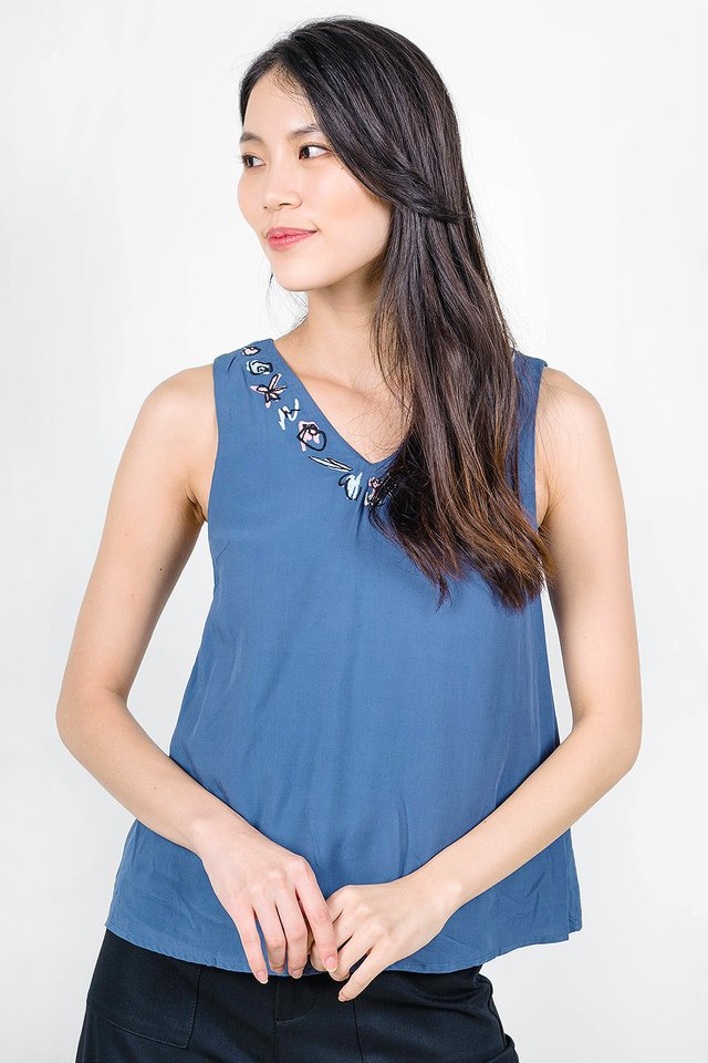 Garden Embroidery Top (Dusk Blue)