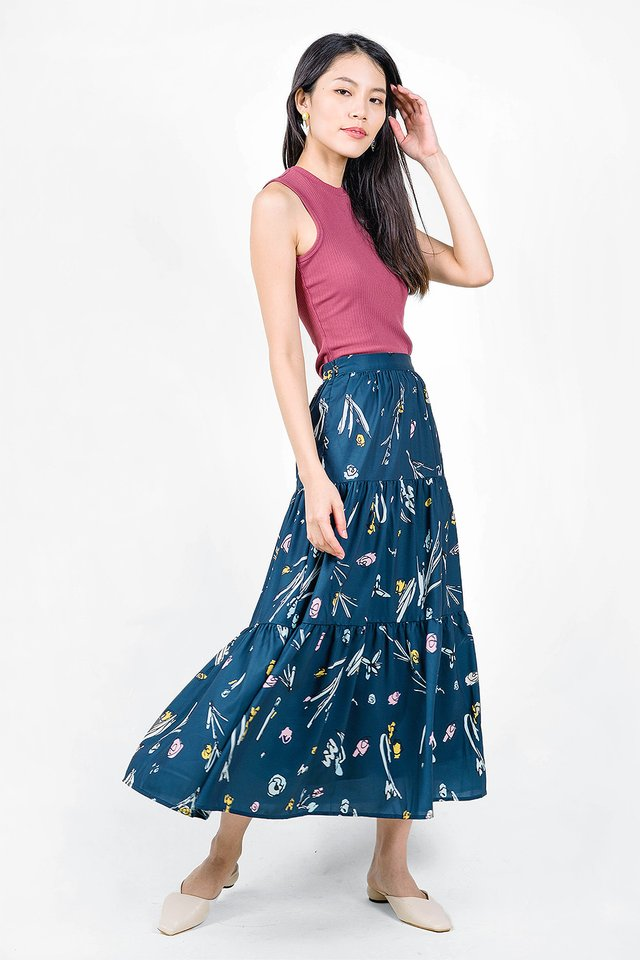Garden Tiered Skirt (Midnight)