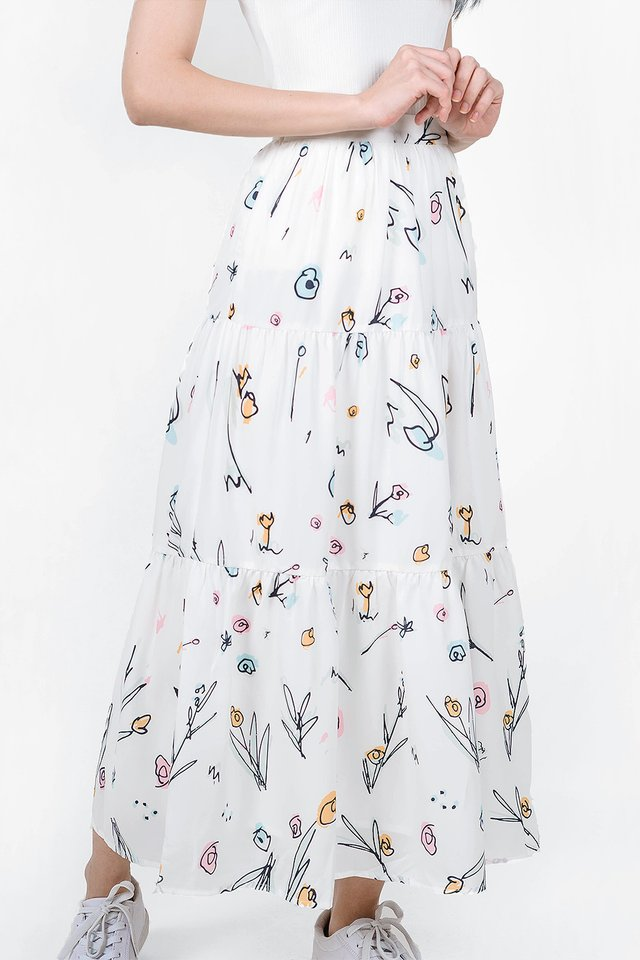 Garden Tiered Skirt (White)