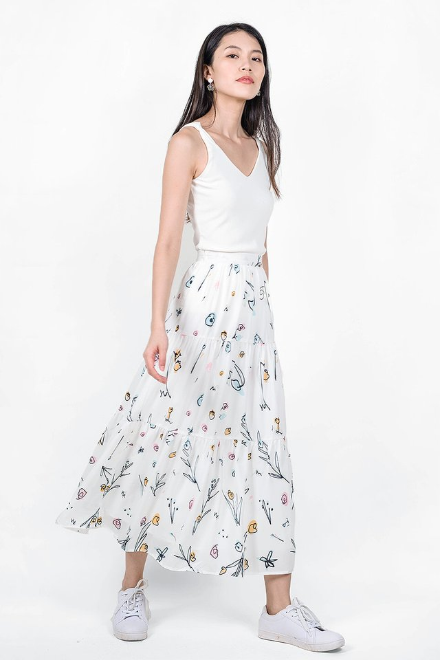 Garden Tiered Skirt (White) - Extra Small