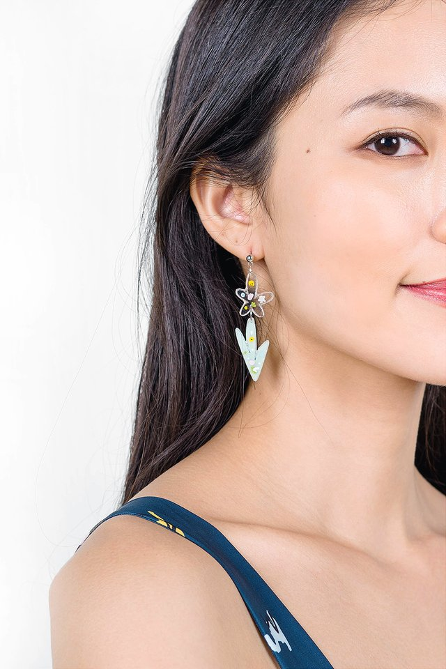 Garden Earrings (Iris Leaf)
