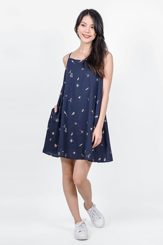 Autumn Embroidery Cami Dress (Navy)