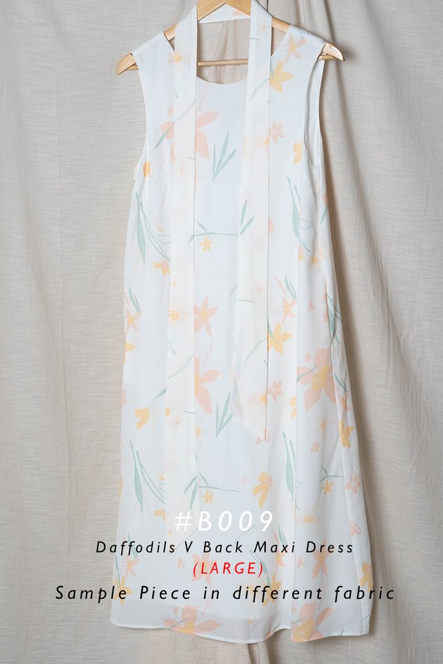 Daffodils V Maxi Dress (White) - Large